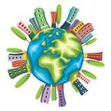 Retro- Welt lokalisierte Vektor-Illustration Lizenzfreies Stockbild