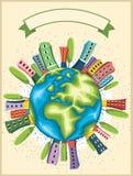 Retro Wereld Vectorachtergrond Stock Foto's