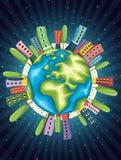 Retro Wereld Vectorillustratie Royalty-vrije Stock Foto's