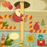 Retro Wesoło kartka bożonarodzeniowa Zdjęcie Royalty Free