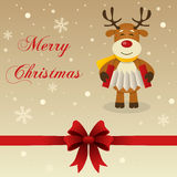 Retro Wesoło kartka bożonarodzeniowa renifer Zdjęcia Stock