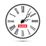 Retro White Abstract Alarm Clock Illustration. On White Background Stock Images