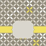 Retro white beige yellow leaves with gray blank la Royalty Free Stock Photography