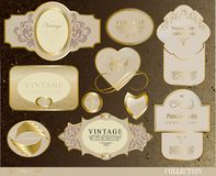 Retro white gold label Stock Images