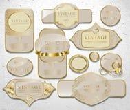 Retro white gold label Royalty Free Stock Photos