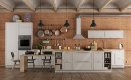 Retro White Kitchen In A Old Interior With Brick Wall Stock Photography