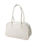 Retro white leather sport bag. Isolated on white background. Clipping path included Stock Photography