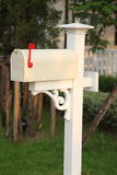 Retro white mailbox Stock Photo