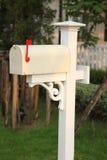 Retro white mailbox Stock Photo