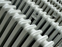 Retro white radiators. Ready for assembly Stock Image