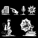 Retro 1. White vector retro themed icons Stock Illustration