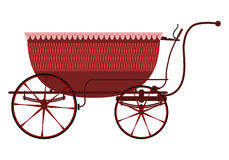 Retro wicker baby carriage. Stock Photos
