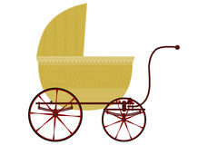 Retro wicker baby carriage. Royalty Free Stock Images