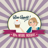 Retro wife illustration with bon appetit message Royalty Free Stock Image