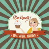 Retro wife illustration with bon appetit message Royalty Free Stock Images