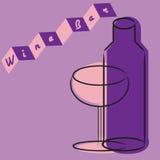 Retro wijnglas en fles Royalty-vrije Stock Afbeelding