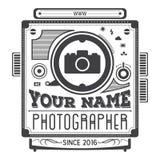 Retro wijnoogst logotype van oude camera voor fotografen Stock Afbeeldingen