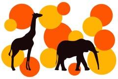 Retro wildlife. African wildlife in retro style with yellow and orange circles Stock Photography
