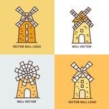 Retro windmill logo set. Wheat bread mill vector icons Royalty Free Stock Photos