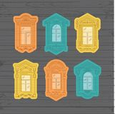 Retro Window icon, Window vintage frames. Collection of windows on a wooden wall. Isolated thin line icons, Vector royalty free illustration