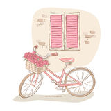 Retro windows and bicycle. Retro bicycle with basket of flowers near the house wall vector illustration