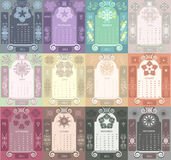 Retro windows calendar set. Decorative vintage calendar 2011 set, with stylized window and astrological symbols Royalty Free Stock Image