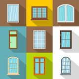 Retro windows icons set, flat style. Retro windows icons set. Flat set of 9 retro windows vector icons for web with long shadow Stock Images