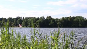 Retro windsurfing on the pond or lake. Old shool sport action. stock footage
