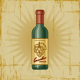Retro Wine Bottle. In woodcut style. Decorative vector illustration Stock Photos