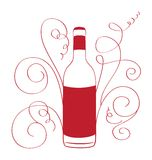 Retro Wine Bottle with curves Stock Photo