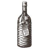 Retro wine bottle vector logo design template Royalty Free Stock Photos
