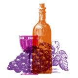 Retro wine vector logo design template. grape or Royalty Free Stock Photo