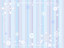 Retro Winter Background. Striped retro background with a border of various stylized snowflakes royalty free illustration