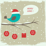 Retro winter card with cute bird Stock Photos