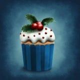 Retro winter cupcake. Illustration of retro winter cupcake Royalty Free Stock Photography
