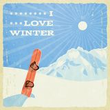 Retro Winter Landscape with Snowboard Stock Images