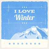 Retro Winter Landscape Royalty Free Stock Photos