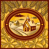 Retro winter village. In style of engraving. Vector illustration with clipping mask Royalty Free Stock Photography