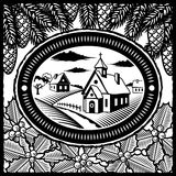 Retro winter village black and white. Retro winter village in style of engraving. Black and white  illustration with clipping mask Royalty Free Stock Images