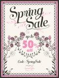 Retro wiosny sprzedaży plakatowy projekt Obrazy Stock