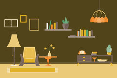 Retro- Wohnzimmer-Vektor-Illustration Stockbild