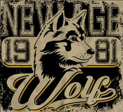 Retro wolf mascot athletic design complete. With wolf illustration, vintage athletic fonts stock illustration
