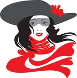 Retro woman. Retro beautiful woman with red scarf Royalty Free Stock Photo