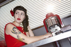 Retro Woman In American Diner Stock Images