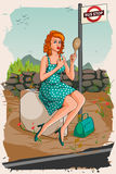 Retro woman applying lipstick waiting at bus stop royalty free illustration