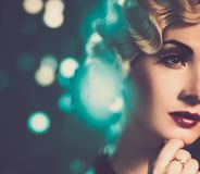 Retro woman with beautiful hairdo Royalty Free Stock Images