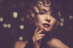 Retro woman with beautiful hairdo Stock Photos