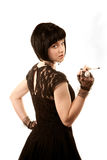Retro woman with black hair Stock Images