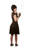 Retro woman with black hair Royalty Free Stock Photos