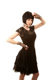 Retro woman with black hair Royalty Free Stock Photography